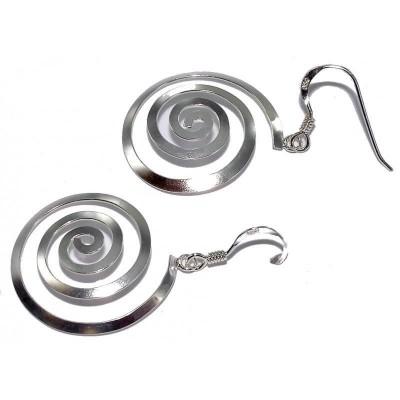 Boucles d'oreilles spirales originales en argent - Lyn&Or Bijoux