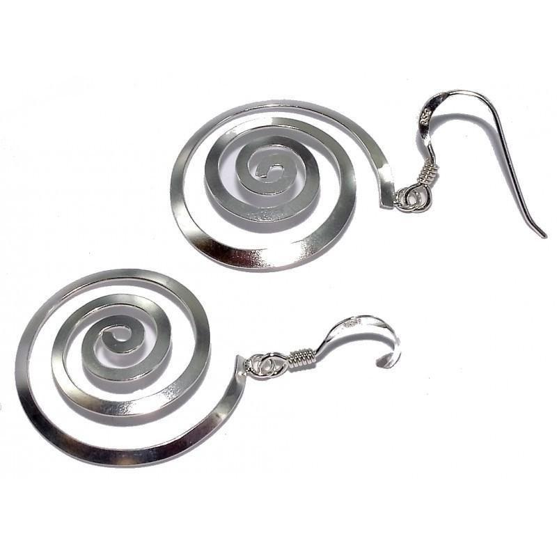 boucle d'oreille spirale pour femme en argent 925 millièmes