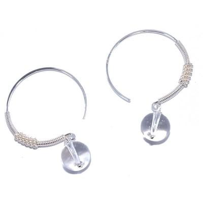 Créoles argent avec perles en cristal blanc pour femme - Kalla - Lyn&Or Bijoux