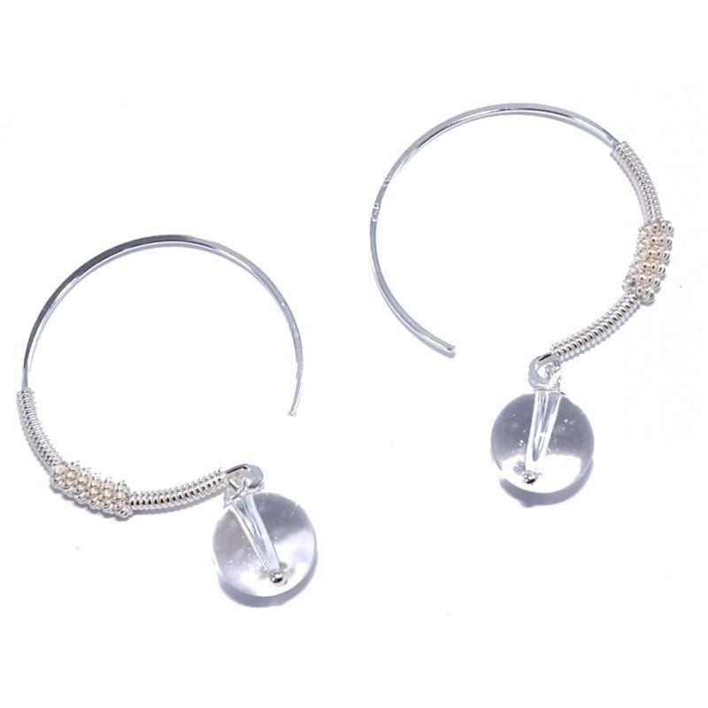 Créoles originales avec perles cristal et argent pour femme - bijou créateur