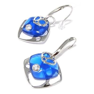 Boucles d'oreilles bleues en argent pour femme - Chica - Lyn&Or Bijoux