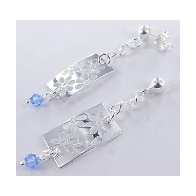 boucle d'oreille fantaisie, argent et cristal bleu pour femme, Fa