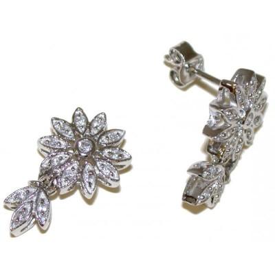 Boucles d'oreilles fleur en argent pour femme - Eclatantes - Lyn&Or Bijoux