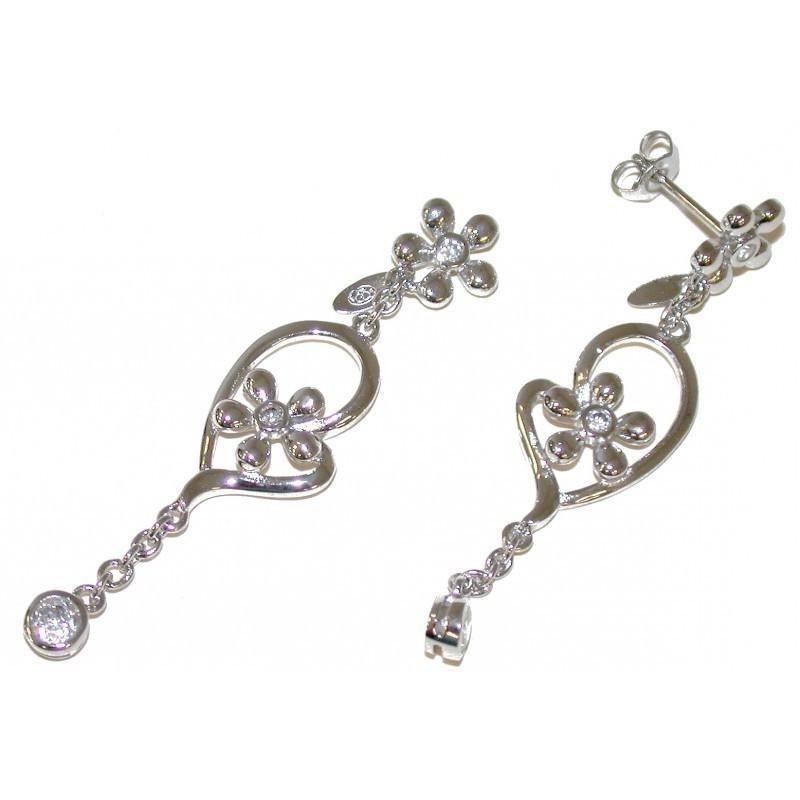 Boucles d'oreilles fleur en argent et zircon pour femme - Voltige - Lyn&Or Bijoux
