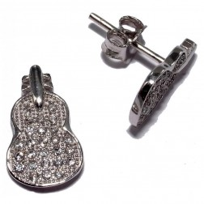 Boucles d'oreilles zircone et argent 925 pour femme - Violon - Lyn&Or Bijoux