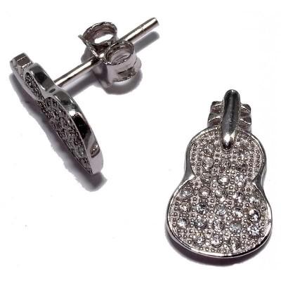 Boucles d'oreille zircone et argent 925 pour femme - Violon - Lyn&Or Bijoux