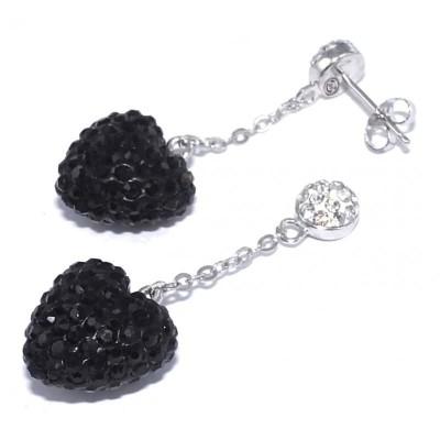 Boucles d'oreille cristal et argent pour femme - Coeur Noir - Lyn&Or Bijoux
