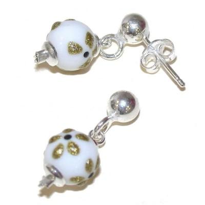 Boucles d'oreilles blanches en argent et verre pour femme - Mia - Lyn&Or Bijoux
