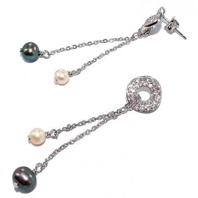 Boucles d'oreille perles deux couleurs pour femme - Prya - Lyn&Or Bijoux
