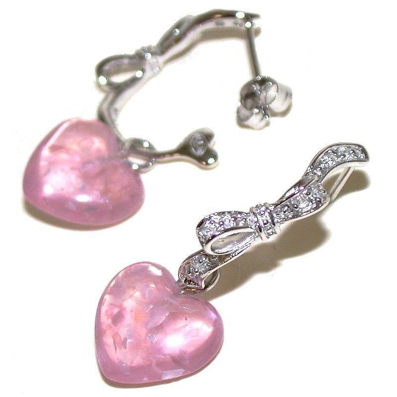 Boucles d'oreilles roses en argent, résine, zircon pour femme - Lia - Lyn&Or Bijoux