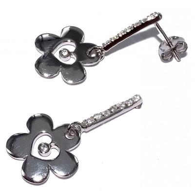 Boucles d'oreilles fleur en argent pour femme - Babette - Lyn&Or Bijoux
