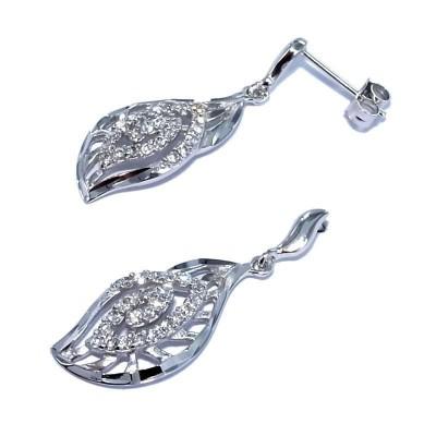 Boucles d'oreille pendantes femme, Aile en argent & zircon - Aby - Lyn&Or Bijoux