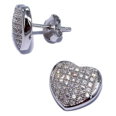 Boucles d'oreille femme, coeur en argent et zircon - Sincérité - Lyn&Or Bijoux
