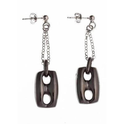 Boucles d'oreille en argent noir pour femme - Mag - Lyn&Or Bijoux