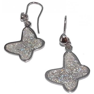 Boucles d'oreille papillon pailleté en argent pour femme - Vola - Lyn&Or Bijoux