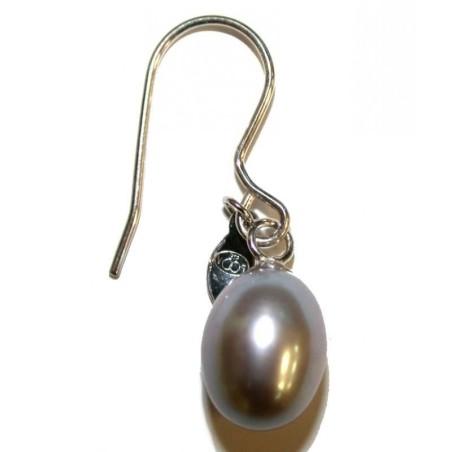 boucle d'oreille perle grise fantaisie pour femme, Anya