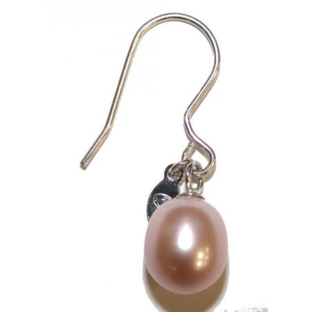 boucle d'oreille perle rose fantaisie pour femme, Anya
