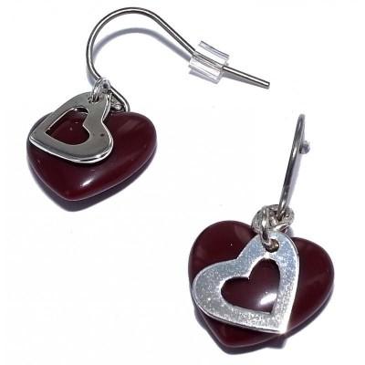 Boucles d'oreille rouge avec coeur pour femme - Fire-Heart - Lyn&Or Bijoux
