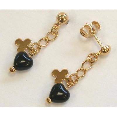 Boucles d'oreille femme, coeur noir et pendant plaqué or - Assy - Lyn&Or Bijoux
