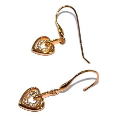 Boucles d'oreille pendantes femme, coeur & zircon - Chiquita - Lyn&Or Bijoux