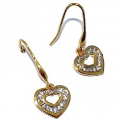 Boucles d'oreille femme, coeur pendant en zircon & plaqué or - Lova - Lyn&Or Bijoux