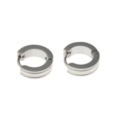 Créoles épaisses en acier gris inoxydable pour femme - Bianca - Lyn&Or Bijoux