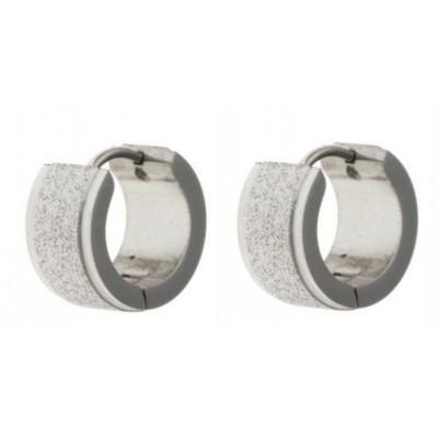 Créoles acier avec finition diamantée pour femme - Tiaga - Lyn&Or Bijoux