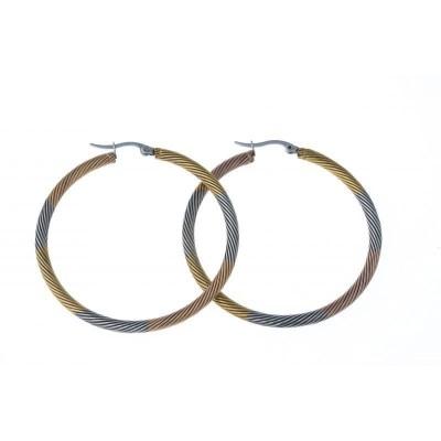Créoles câble en acier trois tons pour femme - 50 mm - Lyn&Or Bijoux