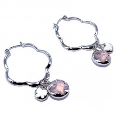 boucle d'oreille fantaisie en argent et cristal pour femme, Lalla