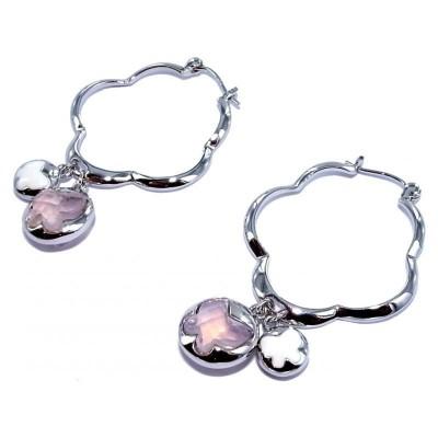 Créoles en argent et cristal rose pour femme - Lalla - Lyn&Or Bijoux