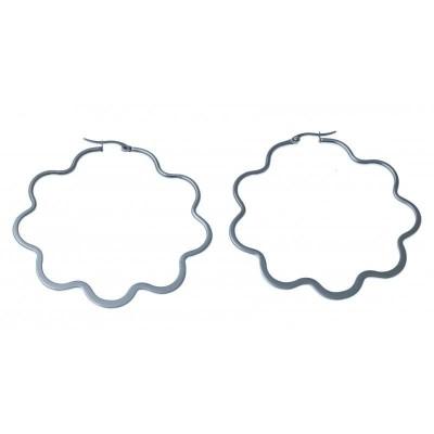 Bijou anneaux d'oreilles acier inoxydable 65 mm fantaisie pour femme, Etoile