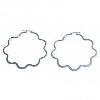 Créoles en acier originales 65 mm pour femme - Fleurs - Lyn&Or Bijoux
