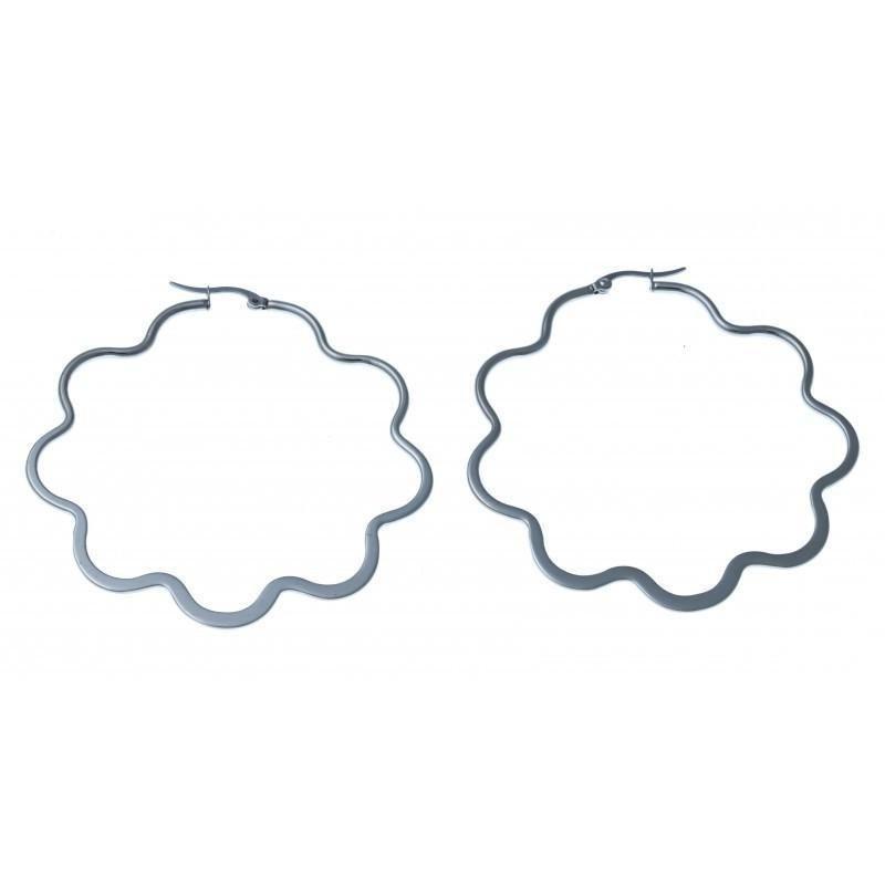 anneaux d'oreilles acier inoxydable 65 mm pour femme, Etoile