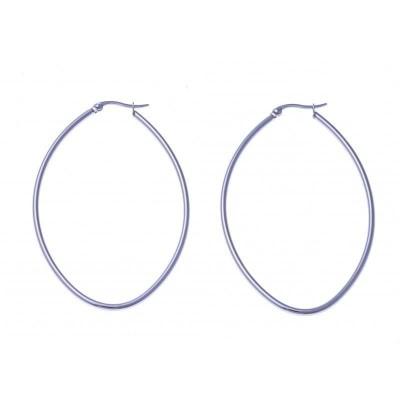 anneaux d'oreilles acier inoxydable 65 mm pour femme, Ovale