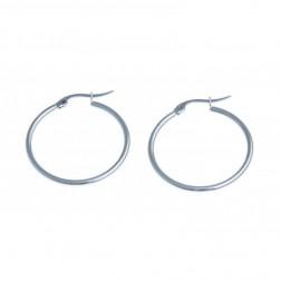 Bijou anneaux d'oreilles acier inoxydable 25 mm pour femme, Ronda
