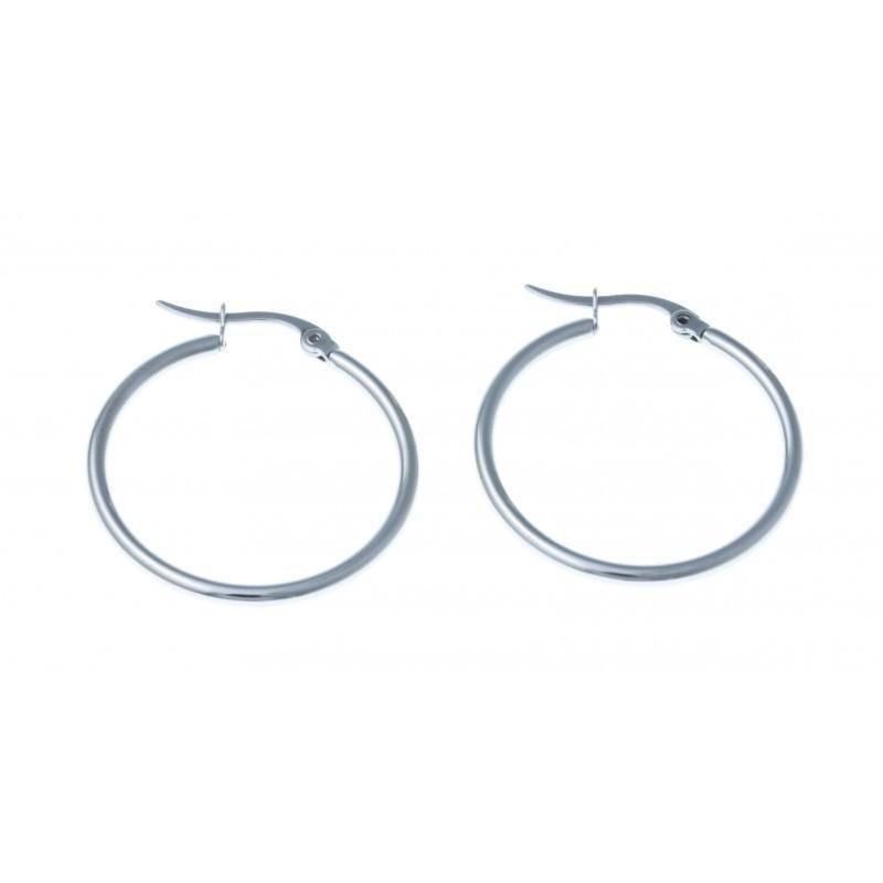 anneaux d'oreilles acier inoxydable 25 mm pour femme, Ronda