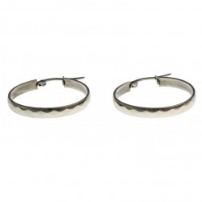 Bijou anneaux d'oreilles acier inoxydable 25 mm fantaisie pour femme, Facette