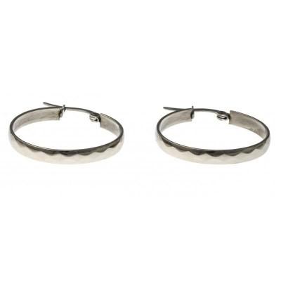 anneaux créoles acier inoxydable 25 mm pour femme, Facette