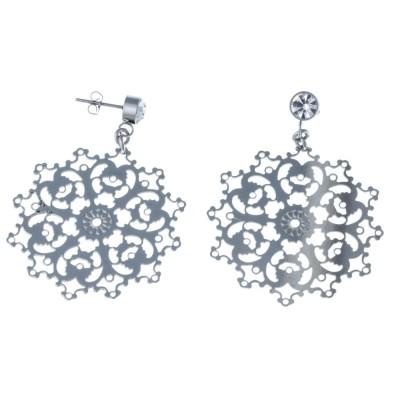 Boucles d'oreille pendantes pour femme en acier gris - Diva - Lyn&Or Bijoux