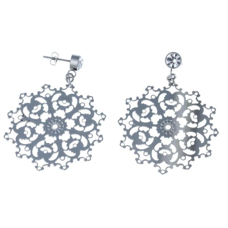 boucles d'oreilles en acier pour femme, pendantes et fines