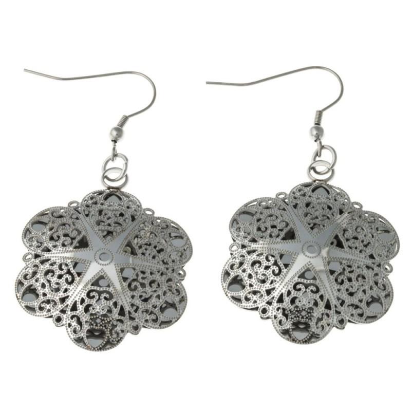 Boucles d'oreilles fleur en acier ciselé pour femme - Sima - Lyn&Or Bijoux