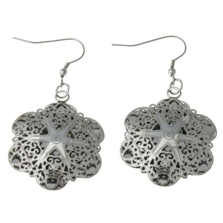 Boucles d'oreilles fleur en acier ciselé - Sima