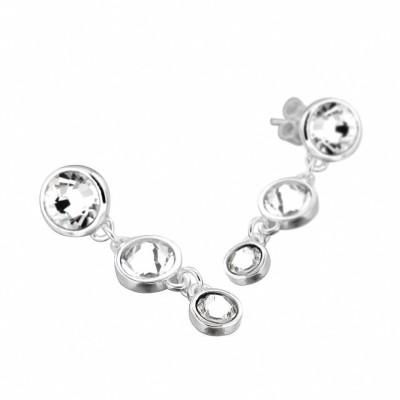 Boucles d'oreille créateur femme, pendants argent & cristal de Swarovski - Chute - Lyn&Or Bijoux