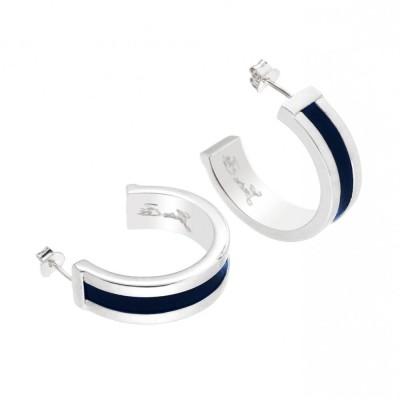 Boucles d'oreilles tendance plaqué argent et cuir bleu nuit Louise Zoé Bijoux, Demi -créole