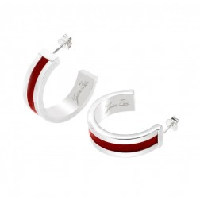 Boucles d'oreilles plaqué argent et cuir rouge, Demi-créole