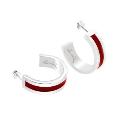 Créoles originales, argent et cuir rouge pour femme - Chanko - Lyn&Or Bijoux
