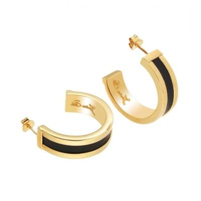 Boucles d'oreilles tendance plaqué or et cuir noir Louise Zoé - Demi -créole