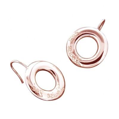 Boucles d'oreilles finition dorée rose pour femme - Cercle Griffé - Lyn&Or Bijoux