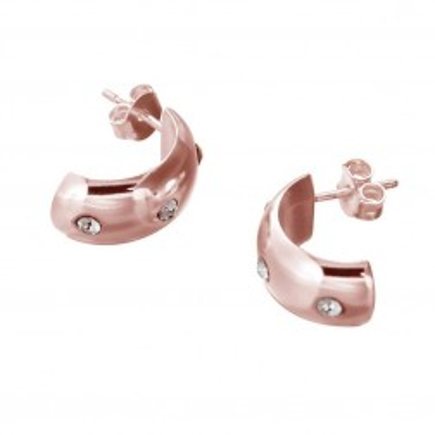 Boucles d'oreilles rose doré et Swarovski pour femme - Demi-créole - Lyn&Or Bijoux
