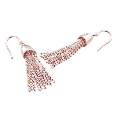 Boucles d'oreilles pour femme en plaqué or, Pampille rose